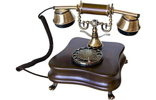 OPIS 1921 Cable - Modelo B - télefono Retro/telefono Fijo Vintage de Madera y Metal con Disco de marcar y Campana metálica