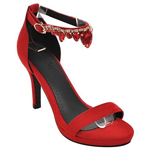 MissSaSa Donna Sandali col Tacco Alto Moda Estate Rosso