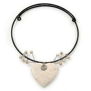 """Collier tour de cou pendentif """"Coeur"""" céramique blanche antique"""