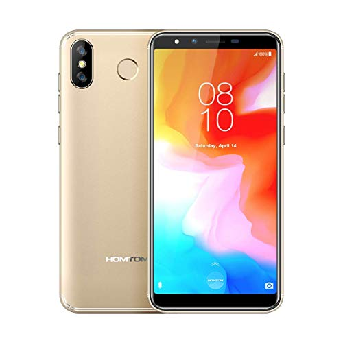 "Dual SIM Smartphone Ohne Vertrag Günstig 4G 5.7"" HD Display, Android 8.1 Quad-Core 3GB RAM 32GB ROM Handy, Camera 8MP+13MP, 3300mAh Fingerabdruck HOMTOM H5 Gold"