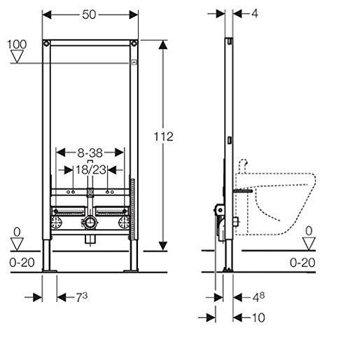 Geberit 111510001 Duofix Montageelement Wand-Bidet für Einlocharmatur 112 cm