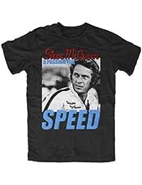 a968685e6fb02c Mens Steve Mcqueen a Passion for Speed Black T Shirt Summer Fashion Tee  Shirt,Schwarz