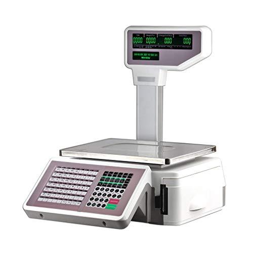 ZCY Barcode Bank Waage - Kommerziell Preisberechnung Elektronisch Balance Mit Drucker Etikette Drucken Waage (Capacity : EU Plug) (Schmuck-drucker)