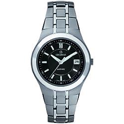 GROVANA 1535.1197 Men's Quartz Swiss Watch with Black Dial Analogue Display and Grey Titanium Bracelet