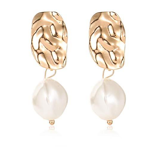 HTMSR Unregelmäßige Simulation Perle Anhänger Ohrringe Frauen Classic Fashion Jewelry Plissee Einfache Braut Ohrringe