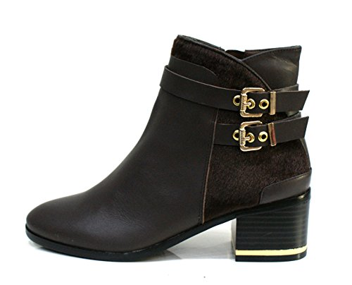 Gaudi Tronchetto Donna Dominic Zip Tacco Cm 5 Calf Pony Leather Ebony_39
