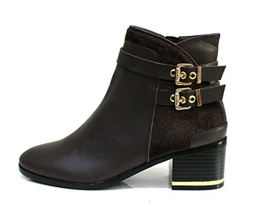 Gaudi Tronchetto Donna Dominic Zip Tacco Cm 5 Calf Pony Leather Ebony_39