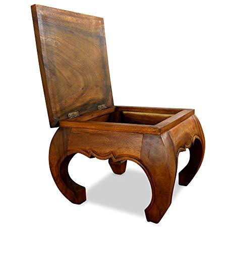 livasia aufklappbare Opiumtische, Massivholz, Beistelltische, Couchtische, asiatische Möbel (braun)