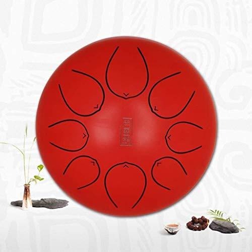 Stahlzunge Trommel, Lotus Chestnut Leere Trommel, 8 Tone Handtrommel, 10-Zoll-Leere Trommel, Yoga Meditation Musiktherapie, ruhig Ton (Color : Red)