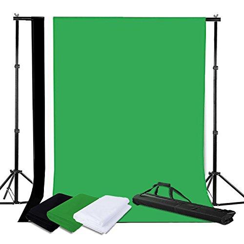 BPS Profi Fotostudio Komplettset Fotografie 2m x 3m Hintergrundsystem inkl. Hintergrund Stoff weiß schwarz grün(Dicke Baumwolle 140g/sqm )+ Tasche