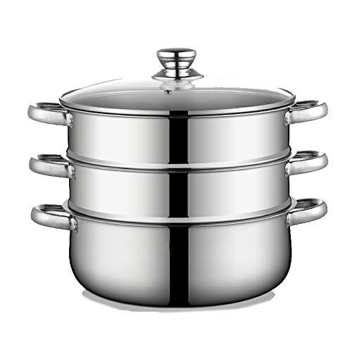 LWH Edelstahl 3-Tier-Dampfgarer Pfanne/Suppentopf, 30 cm Dampftopf mit Glasdeckel Kochgeschirr Topf & Pfanne Set