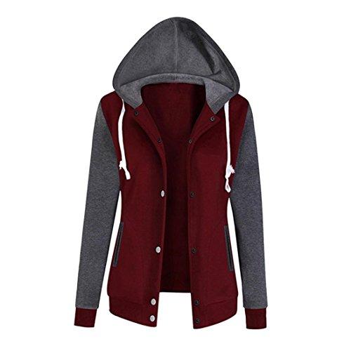 Pullover Damen Btruely Frau Herbst Hoodie Sweatshirt Mode Langarm Damen Causal Tops (XL, Weinrot)