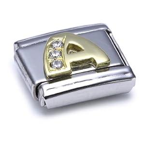 Nomination Comp. Classic BUCHST. Edelstahl, 18K-Gold und Cubic Zirc. (A) 030301