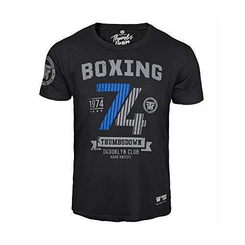 Thumbsdown Pulgares Down Boxeo 1974 Camiseta Brooklyn Club. Duro Knocks. MMA. Gimnasio Entrenamiento. Marcial Artes Informal - Negro, Medium