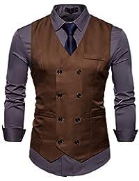 4ef40dc06c AIEOE - Chaqueta de Traje para Hombre Ropa de Chaleco de Vestido Chalecos  Casuales sin Mangas