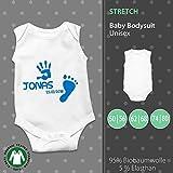 Baby Body Unisex | Fuß - und Handabdruck mit Name und Datum | Wunschtext | individuell | pickNstick