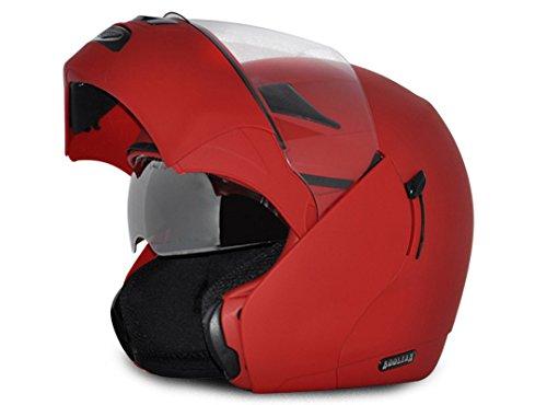Vega Boolean BLN-DR-M Flip-up Helmet with Double Visor (Dull Red, M)