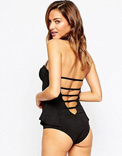 2017 Maillot de Bain, Xinan Femmes Swimwear Sexy Bandage Bikini Tankini Beachwear Noir