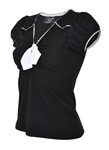 Küstenluder EMERY V-Neck Pin Up 2-TONE Bow SHIRT Rockabilly Schwarz mit weißer Knotenschleife