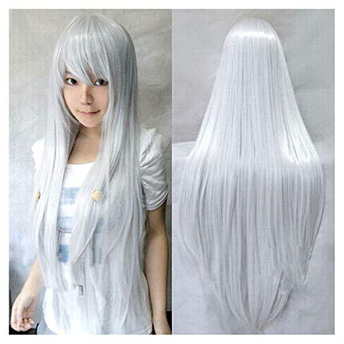 Perücke 100cm Silber weiße lange gerade Haar synthetische Perücke für Cosplay/Halloween-Party-Kostüm