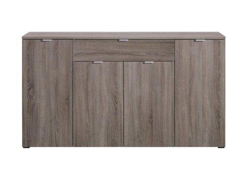Kommode in Sonoma Trüffel-Nachbildung, 4 Türen und 1 Schubkasten, mit Türdämpfung und Selbsteinzug, Maße: B/H/T ca. 181,5/101/38,5 cm