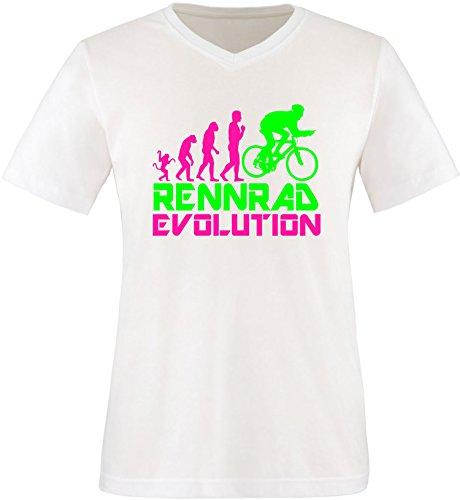 EZYshirt® Rennrad Evolution Herren V-Neck T-Shirt Weiss/Pink/Neongr