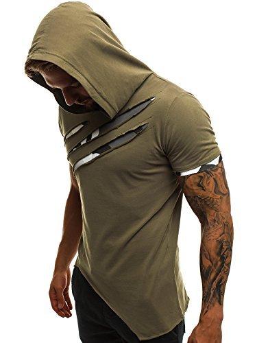 OZONEE Mix Herren Tanktop Shirt Tankshirt T-Shirt Kapuze Unterhemden Ärmellos Muskelshirt Fitness A/1185 Grün XL