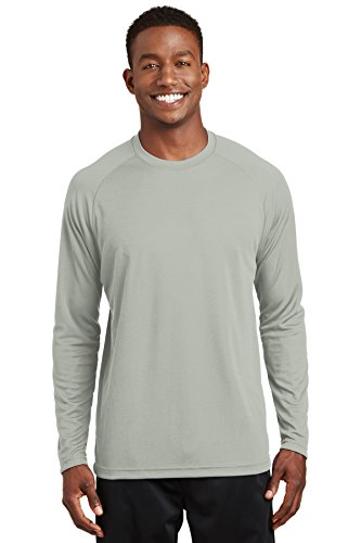 Sport-tek Herren Raglan (Sport-Tek® Dry Zone® Long Sleeve Raglan T-Shirt. T473LS Silver XL)