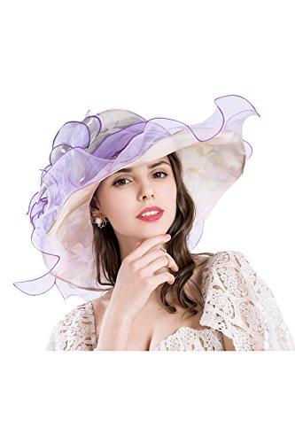 Frauen Organza Sonnenhüte Breiten Rand Kentucky Derby Kirche Tea - Party - Hut  Purple One Size