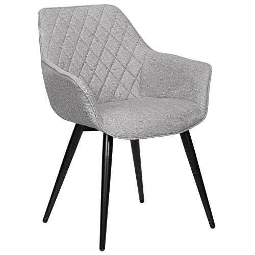 WOLTU Esszimmerstühle BH152gr-1 1x Küchenstuhl Wohnzimmerstuhl Polsterstuhl mit Armlehen Design Stuhl Leinen Metall Grau