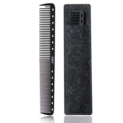 xnicx Negro carbono Peluquería Peine Pelo Peine 100% antiestático 230 ℃ Resistente al calor peine de corte Peluquería Estilista de pelo peine de corte, juego de peluquería Peluquería Peine