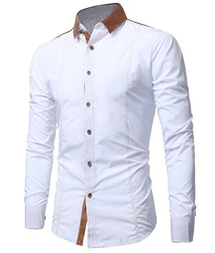 Kuson Herren Langarmhemd Slim Fit Hemden Modern Business Hochzeit Freizeit Bügelleicht kentkragen Hemd mit Geweihprosse Weiß