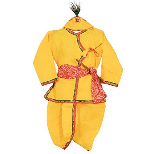 Ahhaaaa Yellow Krishna Dress Dhoti Kurta For Baby Boys (Pack of 4- Basuri,Mor Pankh Mukut,Bandhni Patka & Dhoti Kurta