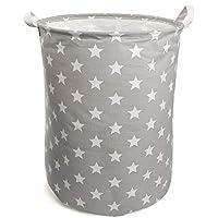 NEWSTYLE Large Laundry Basket,Waterproof Foldable Cotton Fabric Laundry Hamper Bucket Cylindric Burlap Canvas Storage Basket with Handles