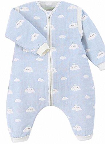 Gigoteuse bébé Manches Longues -garcon -Fille pyjama enfant toutes saisons confort combinaison à pieds Six couches de gaze. (S:70-80CM (0-12 mois), bleu -Coeur)