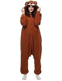 Unisex Animal Pijama Ropa de Dormir Cosplay Kigurumi Onesie Oso Marrón Disfraz para Adulto Entre 1