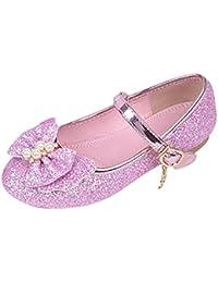 Zhhlinyuan Kids Cute Bowknot Sequins Princess Single Shoes Sweet Chicas Comfortable Non-slip Flat Shoes