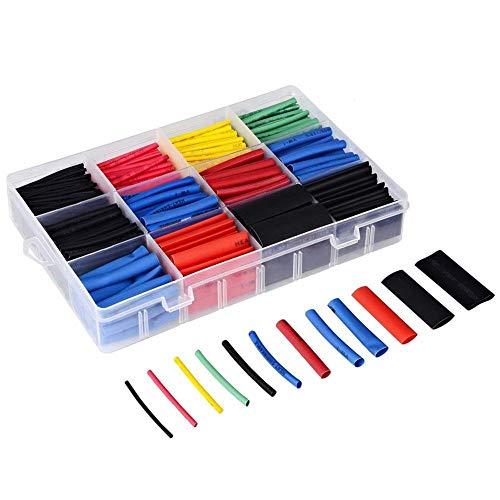 JTENG 750 pcs Schrumpfschlauch Sortiment Schrumpfschläuche Set Heat Shrink Tube Schrumpfschläuche farbig in Box Wire Wrap Assortment