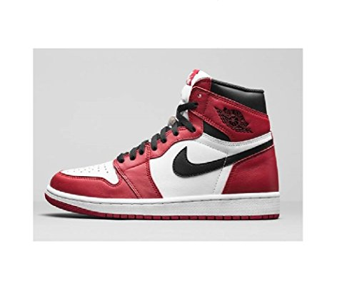 Nike Herren Air Jordan 1 Retro High OG Fitnessschuhe, Rot (Weiß/Schwarz-Varsity Red), 43 EU