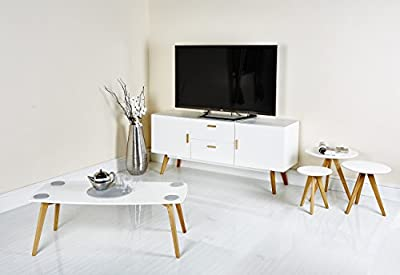 Modern Scandinavian White Grey Retro Home Furniture Range with Solid Oak Legs, Sideboard, Tv Stand, Coffee Tables and Dining Furniture produced by Abreo - quick delivery from UK.