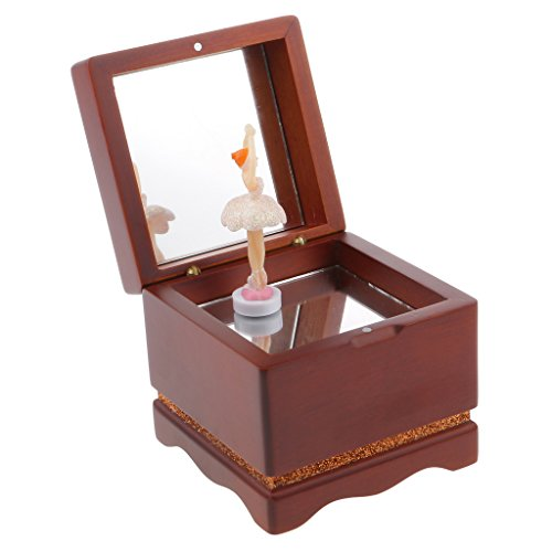 C2K Wooden Dancing Girl Music Box Melody Box Desk Decoration Castle in The Sky