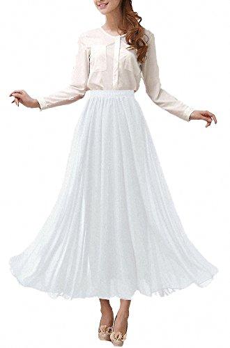 Afibi Damen Chiffon Retro Langer Maxi-Rock Weinlese-Kleid (XL, Weiß)
