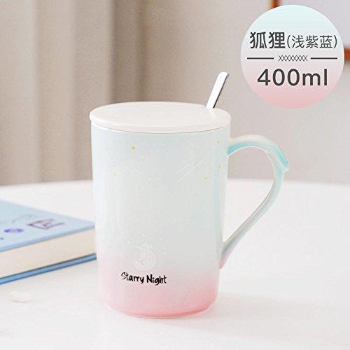 LOYWT kreative Keramik Wasser Schale, Löffel, Milch, ein paar Tassen Kaffee, Büro abgestufte Personalisierte Frühstück Glas, Fox (Fox Gefärbt)