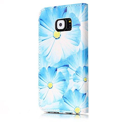 Samsung Galaxy S6 Custoida in Pelle Portafoglio,Samsung Galaxy S6 Cover Pu Wallet,KunyFond Lusso Moda Marmo Dipinto Leather Flip Protective Cover con Bella Modello Cover Custodia per Samsung Galaxy S6 orchidea