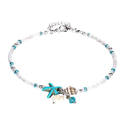 Bangle009Boho Lady Ciondolo Forma di Stella Marina per Sandali di Perline cavigliera