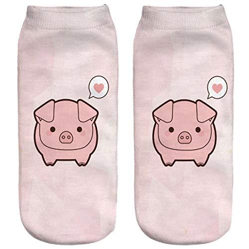 Ferocity Lustige Socken Sneaker Halbsocken Strümpfe Sportsocken Füßlinge mit Motiv 3D Schwein 2 [001]