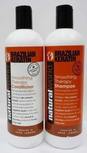 NATURAL WORLD BRAZILIAN KERATIN SMOOTHING THERAPY SHAMPOO & CONDITIONER**DEAL**500ml