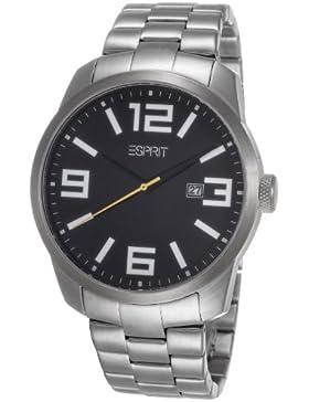 Esprit Herren-Armbanduhr XL Animate Silver Black Analog Quarz Edelstahl ES103842005