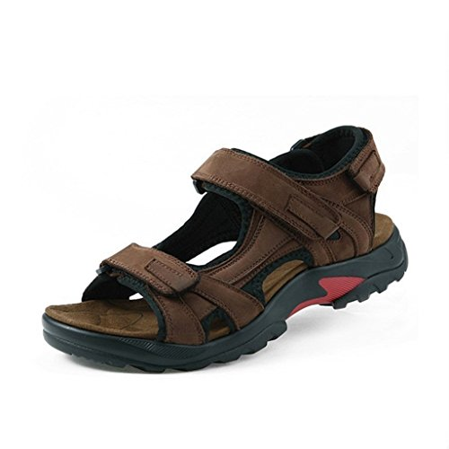 6f2af093852a Doris Men s Leather Sandals Beach Shoes Casual Summer Outdoor Sports Sandals  Brown ...
