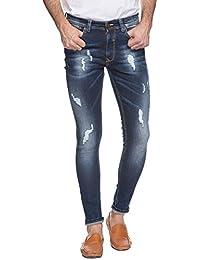 Spykar Mens Dark Blue Super Skinny Fit Low Rise Jeans (38)